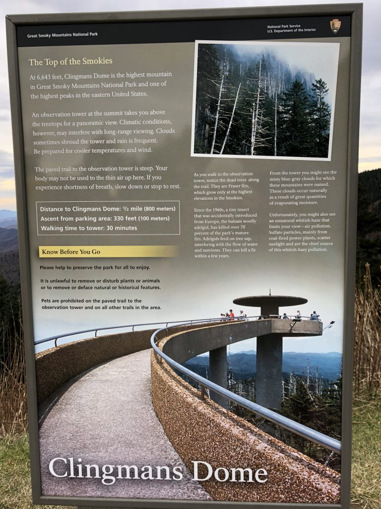 Sign at Clingmans Dome