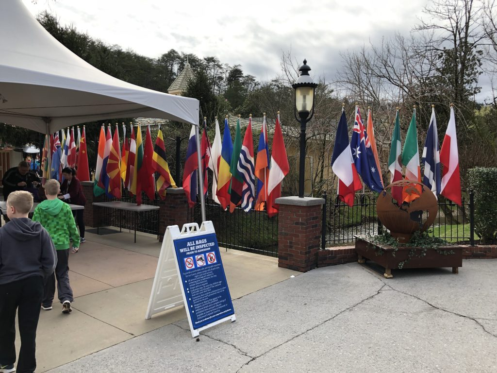 Dollywood Festival of Nations front flags walking in