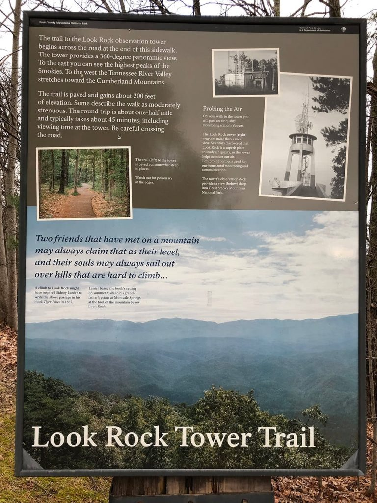 Sign at Look Rock Tower Trail