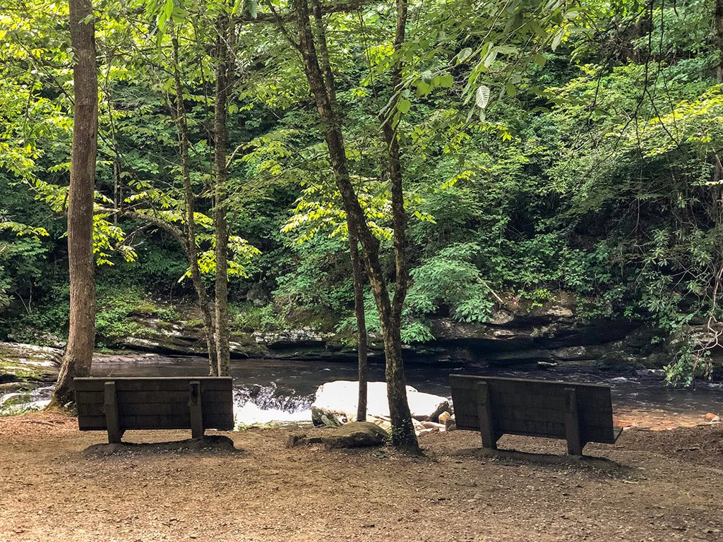 Benches on the Deep Creek Waterfalls Hike