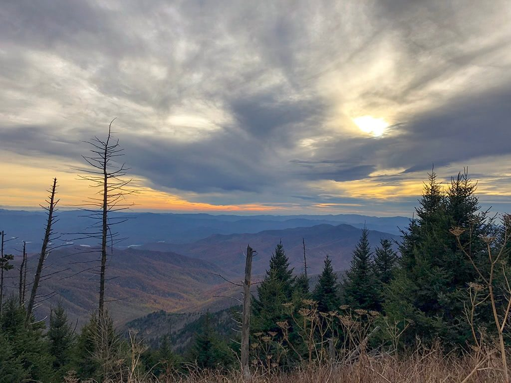 View of Clingmans Dome from drive to Deep Creek Waterfalls