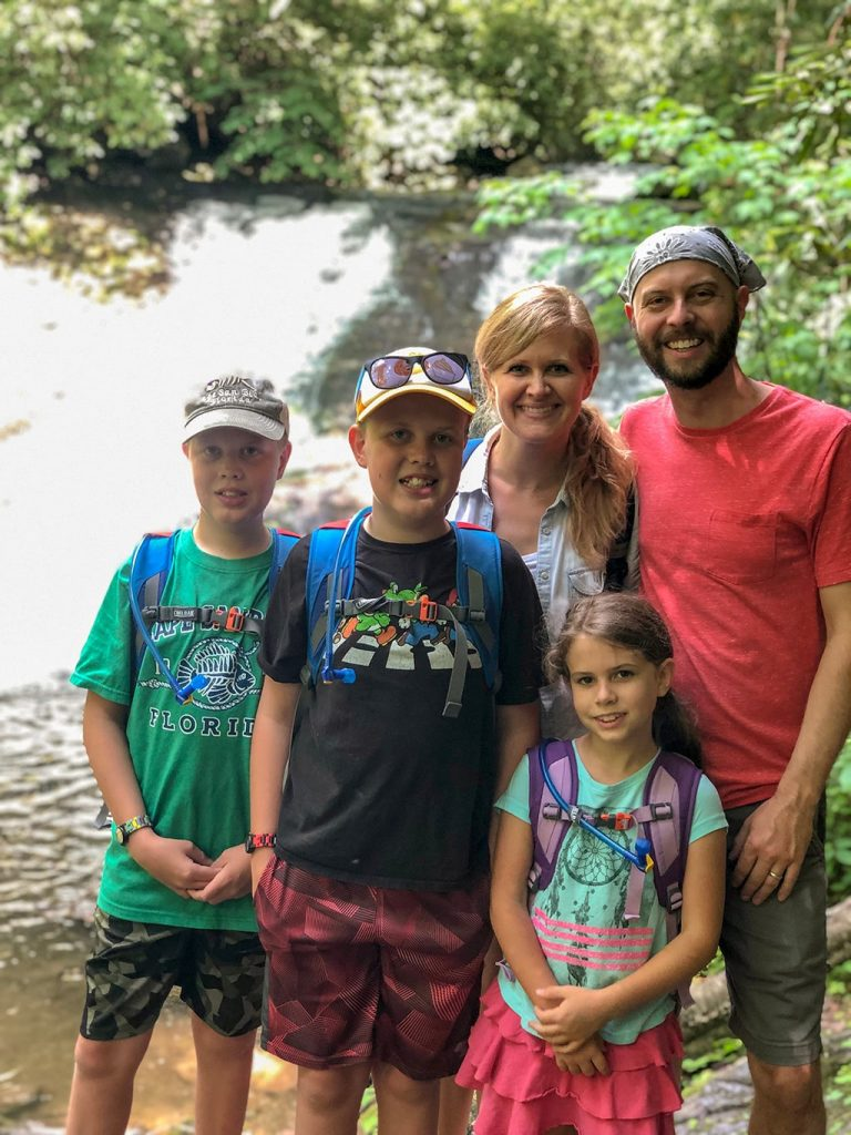 Family Picture at Indian Creek Falls on the Deep Creek Waterfalls Hike
