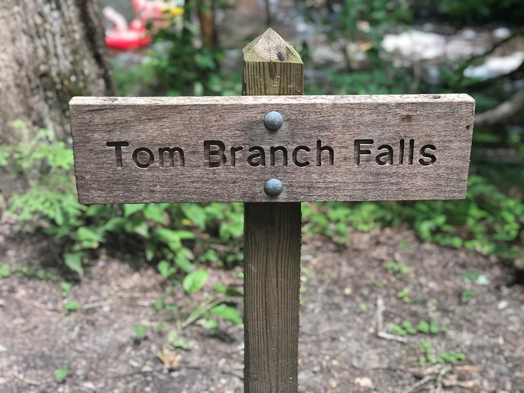 Tom Branch Falls Sign on the Deep Creek Waterfalls Hike
