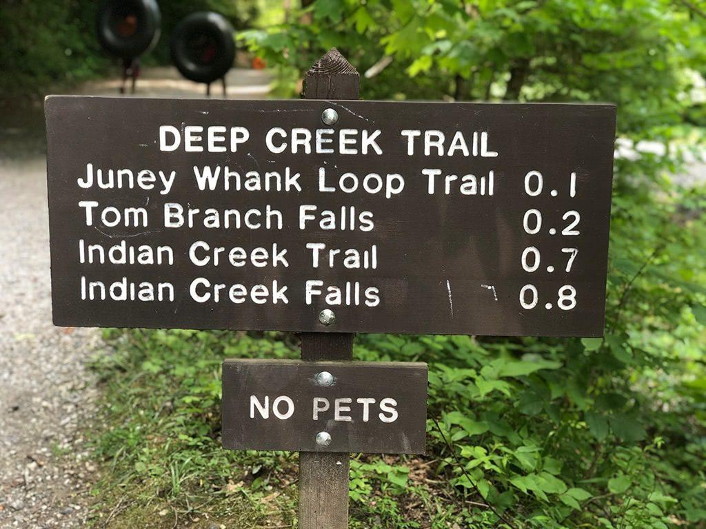 Deep Creek Waterfalls Trailhead sign