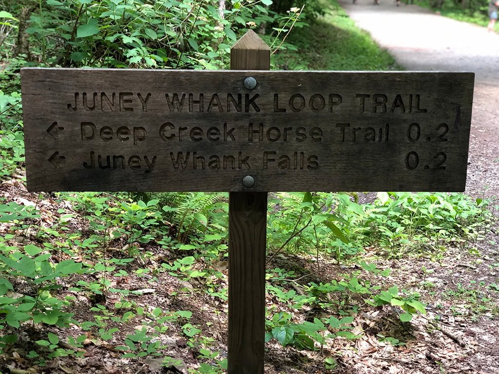 Juney Whank Loop Sign on the Deep Creek Waterfalls Hike