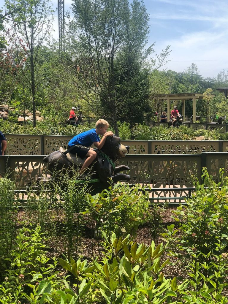 Jack riding the Dollywood Wildwood Grove Bear Ride