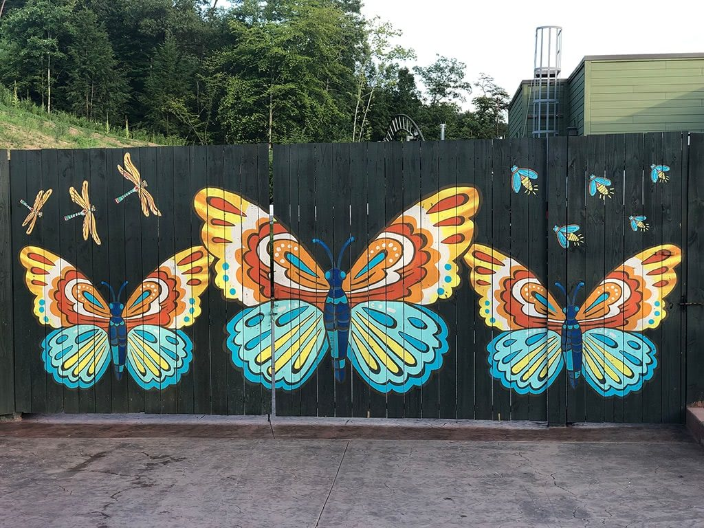 Butterfly Wall at Till & Harvest Restaurant at Dollywood Wildwood Grove