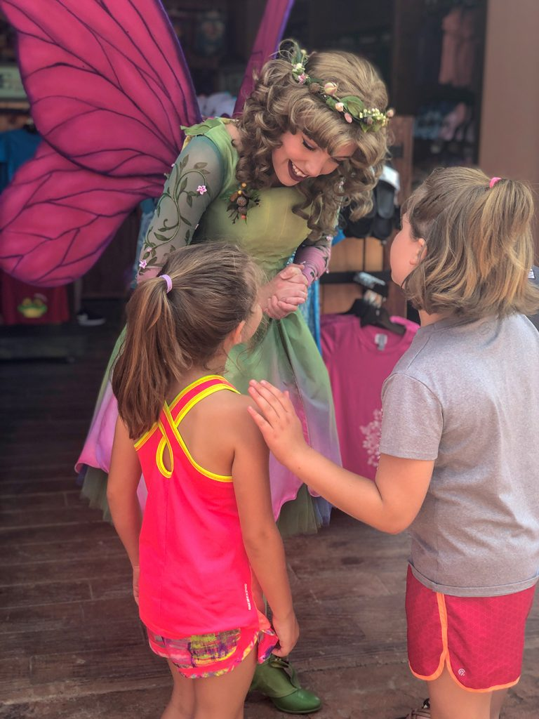 Meeting the fairies at Till & Harvest Restaurant at Dollywood Wildwood Grove