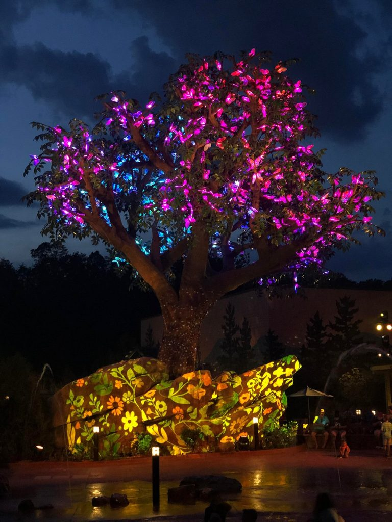 Dollywood Wildwood Grove Tree Lights Up at Night