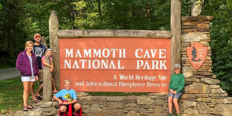 Mammoth Cave National Park Sign with Family