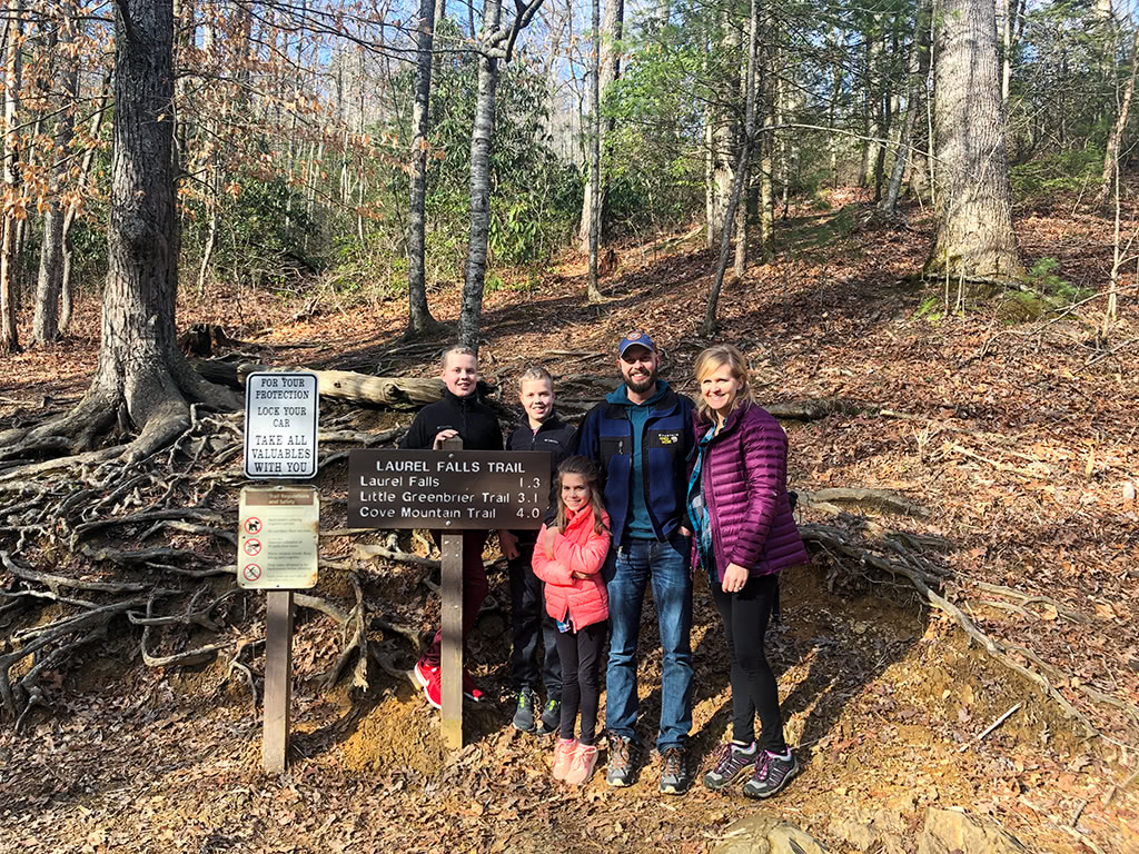 Family Picture at the Laurel Falls Trailhead