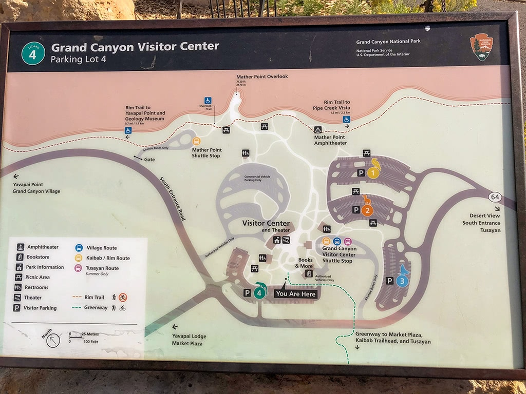 Map of Grand Canyon Visitor Center