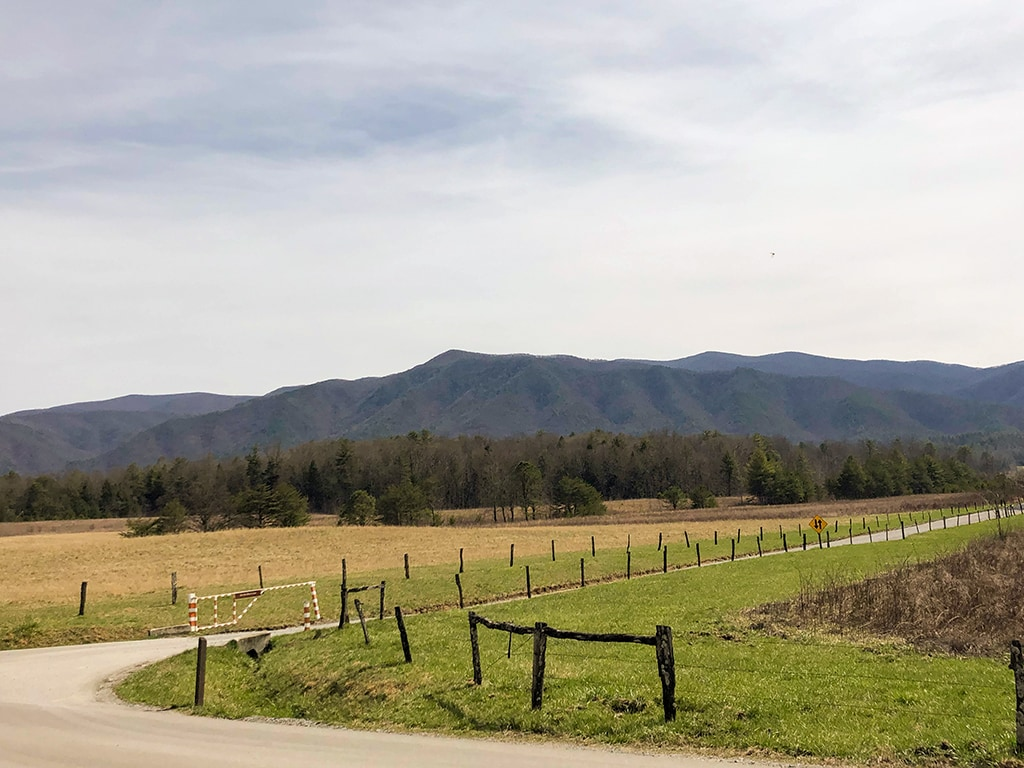 One of the views from Cades Cove scenic drives in the smoky mountains