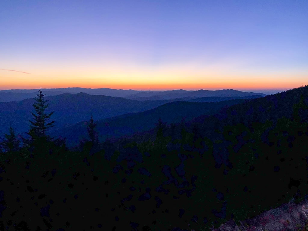 sunset at Clingmans Dome scenic drives in the smoky mountains