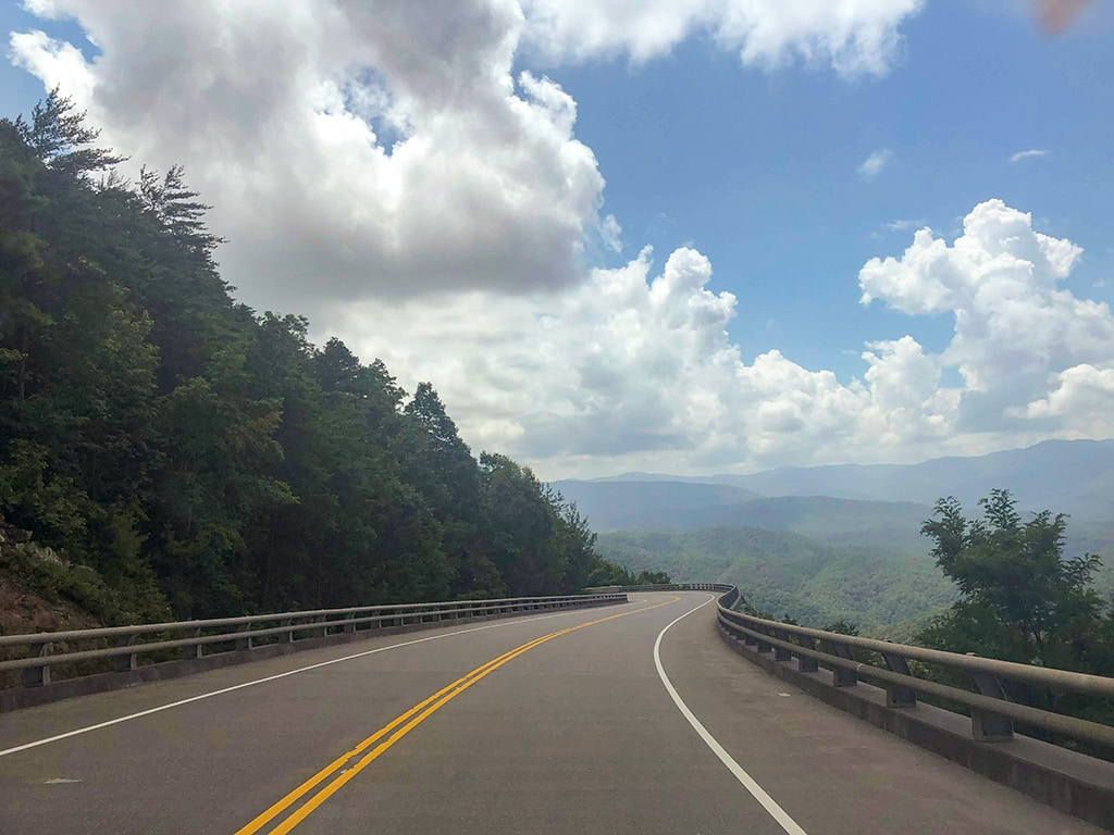 view from one of the scenic drives in the smoky mountains