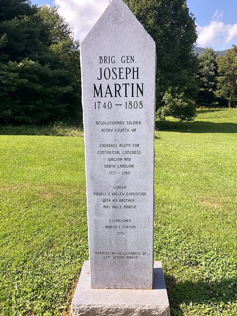 Joseph Martin Plaque at Wilderness Road State Park